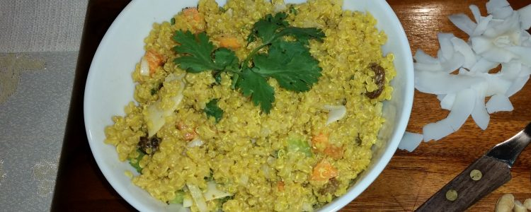 Quinoa with Curry, Cashews and Coconut