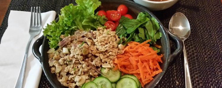 Chicken Larb Salad Bowl with Lime and Ginger Dressing